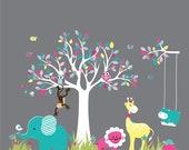 Vinyl Wall Decal  Jungle Safari Tree Monkeys Elephant Giraffe Vinyl Wall Art Decals Nursery Kids Boy girl
