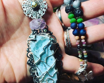 Multi Crystal and Stone Pendant Necklace