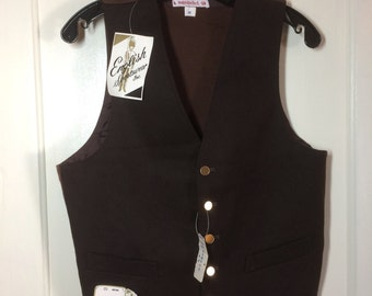 Deadstock Wool Vest brown with sweater knit back size Medium NWT NOS English Sportswear Inc