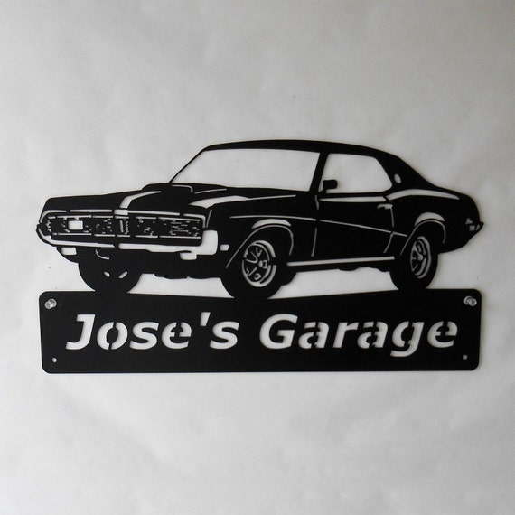1969 Mercury Cougar- Personalized - Man Cave -Garage Sign- Car Art- Metal Art - Automotive Wall Decor- Satin Black
