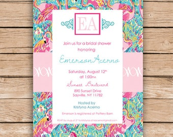 Lilly Pulitzer Inspired Flamingo Invitations - birthday invitations