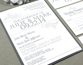 Vintage Wedding Invitations, Simple Wedding Invitation Suite, Typography Wedding Invites, Gray and White Wedding Pocket Suite, Printable DIY