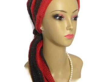 """Sweater Jersey Scarf Dark Coral & Brown Stripe 22"""" Ties, Volumizer Chemo Headwear, Cancer Patient Hat, Alopecia Head Scarf, Tichel Mitpachat"""