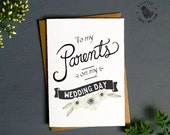 Wedding Thank you Card. Parents Wedding day card. Typography card. FC497