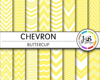 Chevron Digital Paper, Buttercup, Yellow, White, Chevron, Zig Zag, Digital Paper, Digital Download, Scrapbook Paper, Digital Paper Pack