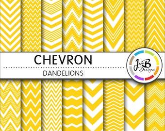 Chevron Digital Paper, Dandelions, Yellow, White, Chevron, Zig Zag, Digital Paper, Digital Download, Scrapbook Paper, Digital Paper Pack