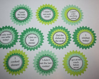 Funny Adulting Reward Stickers - I adulted today - Set of 10 - Greens