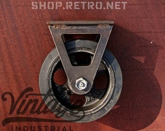 "6"" Vintage Factory Caster w/ rubber tread wheels, Antique Industrial 6RGR"