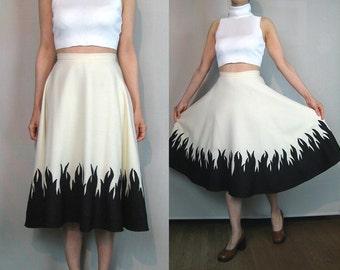 50s Ivory + Black Wool FLAME Novelty Skirt