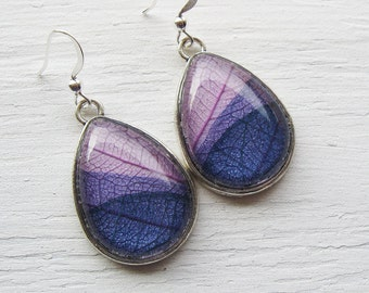 Real Botanical Earrings - Lavender and Purple Silver Teardrop Pressed Leaf Earrings