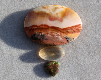 All in a day - Dramatic triple set of natural stone cabochons - Owyhee landscape jasper, Oregon sunstone, black opal set