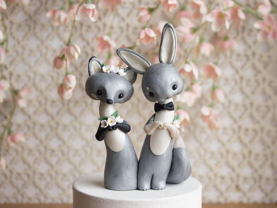 Fox and Hare - Silver Fox and Grey Hare Wedding Cake Topper by Bonjour Poupette