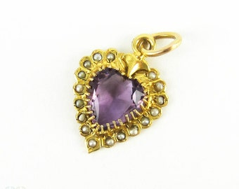 Antique Amethyst Heart & Split Pearl Pendant, 9 Carat Gold Purple Gem in Split Pearl Halo Frame. Victorian Circa 1880s.