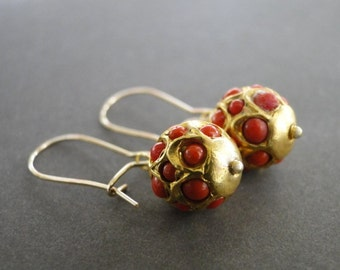 22kt Solid Gold Genuine Coral Drop Earrings / Coral Jewelry / Coral Accessory / Mother's Day Earrings / Dangle Earrings / Gold Drop Jewelry