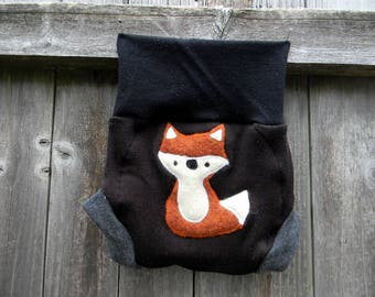 Upcycled Merino Wool Soaker Cover Diaper Cover With Added Doubler Black /Broen/ Gray With Fox  Applique MEDIUM 6-12M