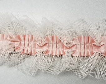 pleated ivory mesh with blush ribbon for altered couture, prom, bridal and more 13 yards