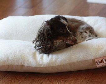Dog Bed, Dachshund Dog Bed, Dog Burrow Bed, Bun Bed, - The Ominous Cloud - Natural White Ivory Plush Fleece Dog Bed, Small Dog Bed