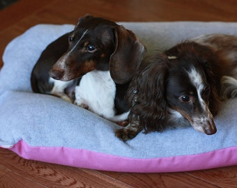 BUNBED, Pink & Gray, Dachshund Dog Bed, Burrow Bed, Gray Fleece Dog Bed, Small Dog Bed, Dachshund Bed
