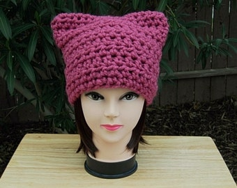 Dark Rose Pink Pussy Cat Hat, PussyHat, Handmade Soft Wool Blend Winter Crochet Knit Solid Pink Beanie, Nasty Woman, Ready to Ship in 2 Days