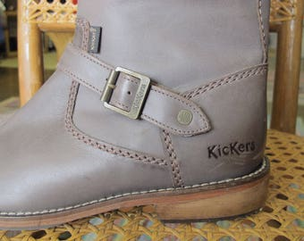 Grey Leather Boots Knee High Kicker's Brown/Gray Distressed Boots Size 38-39 New!