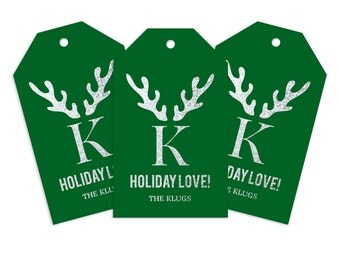 Custom Monogram Gift Tags, Set of 50 Gift Tags, Antler Chic Holiday or Wedding Gift Tags