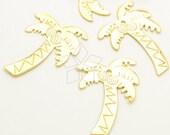 PD-1830-GD / 2 Pcs - Shiny Coconut Tree Pendant, Palm Tree Pendant, Tropical Tree Pendant, 16K Gold Plated over Brass / 19mm x 24mm