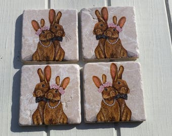 Mr and Mrs Bunny Wedding Stone Coaster Set of 4 Tea Coffee Beer Coasters