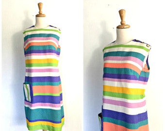 Vintage Cotton Dress - shift dress - 60s dress - sundress - aline - striped - sleeveless dress - knee length -  L