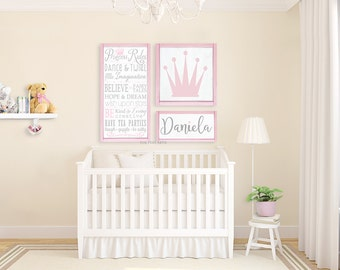 Nursery Decor - Princess Collection - Wooden Wall Art -Gallery Wall - Typography Word Art Signs on Wood - Princess Rules - Playroom Sign