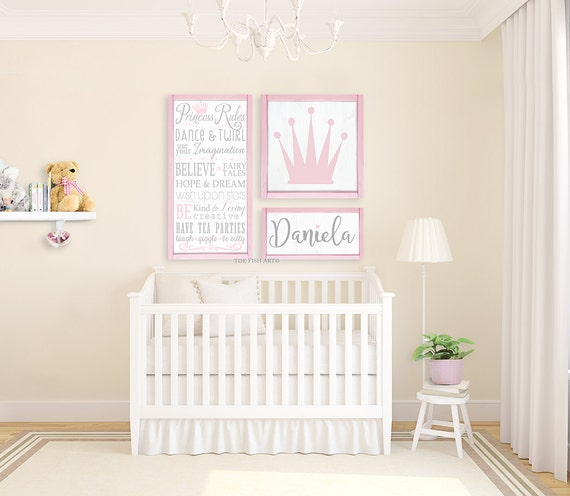 Wooden Wall Decor For Nursery : Nursery decor princess collection wooden wall art gallery