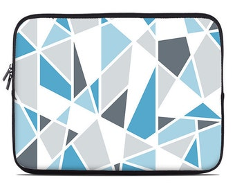 Geometric laptop sleeve, blue, gray, laptop cover, laptop case, to fit 10, 13, 15, 17 inch