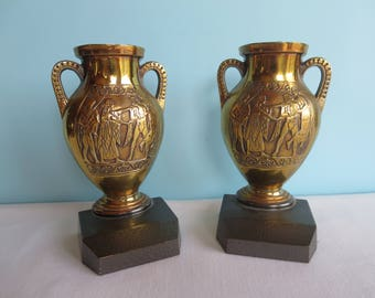Vintage Brass Bookends - Grecian Figures
