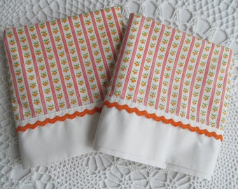 Vintage Pillowcase Pair Bright Orange Stripes Mini Flowers Spring Colors Standard Size Set of 2 Pillowcases JC Penneys No Iron Percale