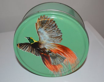 Vintage cookie tin - pheasant bird - round candy toffee metal box - green