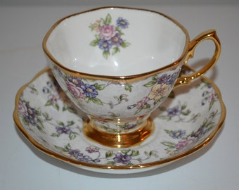 Royal Albert 100 years vintage English Chintz cup & saucer Centennial 1940s - tea cup