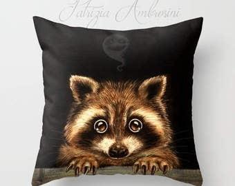 "Pillow  "" Behind you  "" PRINT art.. animal art - woodland, racoon- fine art -living room - childrens room - nursery - babies -ghost"