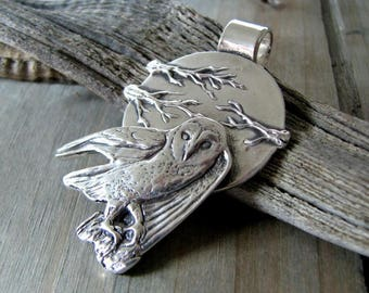 Seeker, Fine Silver Owl and Moon Pendant, Original and Exclusive, by SilverWishes
