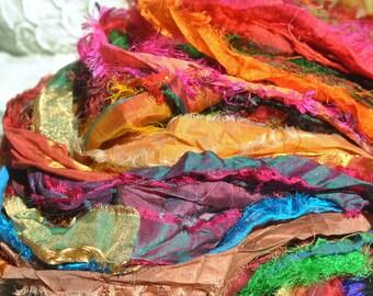Sari Silk, Sari Silk Skein, Ribbon Yarn, Texture, Patterns, Textile Art, Felting Fiber, Vibrant Fuzzie Multi Color Sari Silk Skein #145