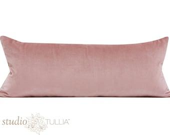 "Rose Quartz - Velvet Decorative pillow Cover 11X 27 1/2"" - lumbar - light pink velvet - mauve - ready to ship"
