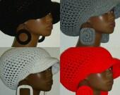 Medium Brimmed Crochet Cap Hat and Earrings by Razonda Lee Razondalee Black Gray White Bright Red