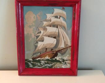 PBN Clipper Ship Sailing Painting oil on Board Nautical Paint By Numbers