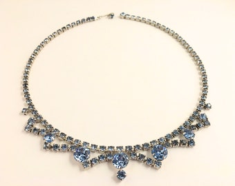 Blue Rhinestone Choker Necklace, Vintage Jewelry, Rhinestone Jewelry, 50s 1950s Rhinestone Necklace, Vintage Blue Necklace, Blue Choker