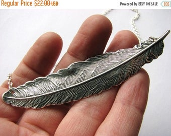 SALE feather necklace - silver - horizontal
