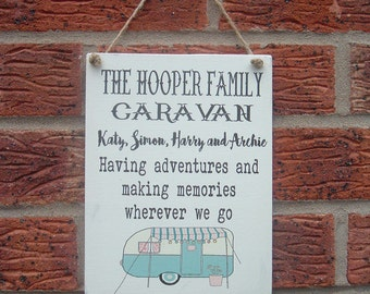 shabby chic personalized caravan family hanging wooden sign plaque