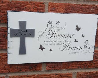 Because someone we love is in heaven 12x6 wooden sign plaque with personalized silver glittered cross
