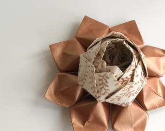 Origami Lotus Flower - Handmade Paper Flower - Copper and Ivory -  Hostess gift, Birthday gift, Graduation gift