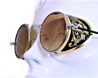 Steampunk Goggles Aviator Sunglasses Brass Side Shields Victorian engrave vintage Driving glasses Gradient Brown Shade