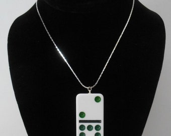 """Created by me with a 2"""" White Vintage Domino Tile Pendant + 18"""" Sterling Snake Chain Necklace"""