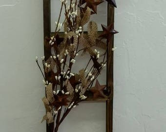 Primitive Lath Wood Ladder with Stars and Burlap, Rusty Barn Star and Burlap Flower