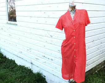 Vintage 60s Red and White Polka Dot Shirtwaist Dress small